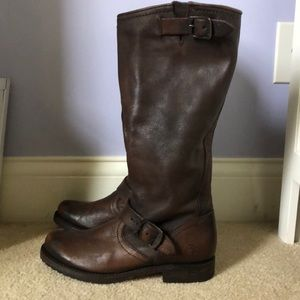 FRYE Tall Leather Brown Boots